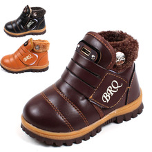 Snow boots kids 2017 new fashion winter snow boots kids brown leather thick thick plush black girls-snow-boots boys snow boots куртка snow headquarter snow headquarter mp002xm0ygun
