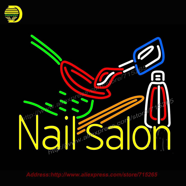 Nail Salon Logo Outdoor Neon Sign Handcrafted Bulb GlassTube Club ...