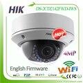 Hikvision inglês 4mp câmera ao ar livre sem fio wi-fi ip network ds-2cd2142fwd-iws ipcam wi-fi camaras, POE Áudio Alarme