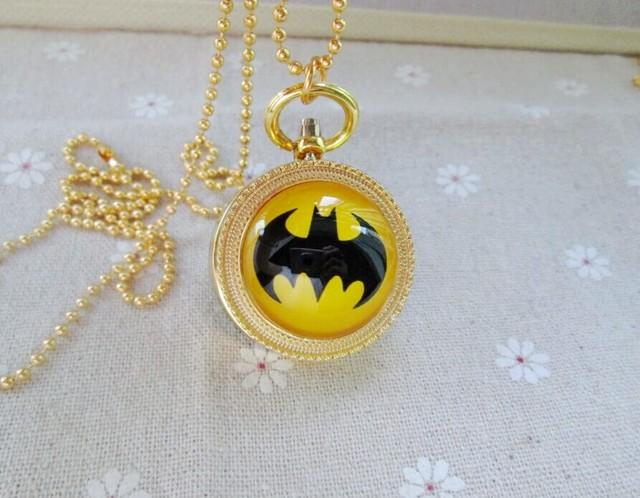 New Gold Batman Theme Pocket Watch  Quartz  Watch With Chain Necklace Gift