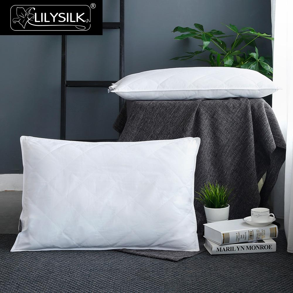 LilySilk Lined Pillow 100 Pure Silk Washable Cotton Covered for Sleeping White Height 13cm Home Textile