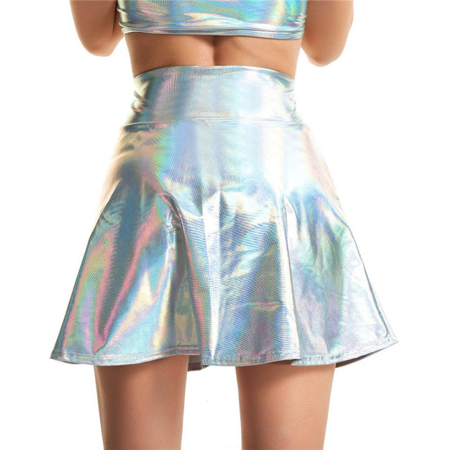 Womens Shiny Mini Skirt 2019 Metallic Wet Liquid Faux Leather Look Flared Pleated A Line Circle Solid Skater Skirts 7 Colors
