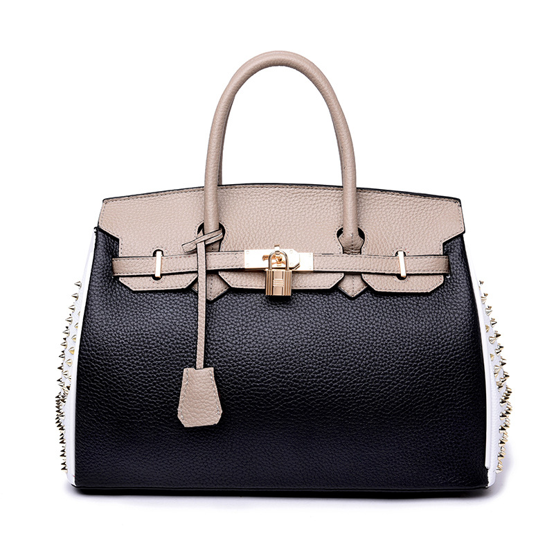 High Quality Famous Brands Women Rivet bag Genuine Leather Handbags Tote Bags Golden Lock 33cm Stitching Designer Large Handbag 2018 soft genuine leather bags handbags women famous brands platband large designer handbags high quality brown office tote bag