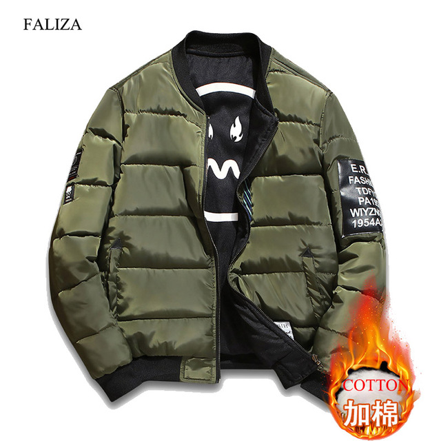 Faliza Winter Thick Bomber Jacket Men Pilot With Patches Green Both Side Wear Pilot Flight Army Military Jacket Outwear Coat Jkh by Faliza