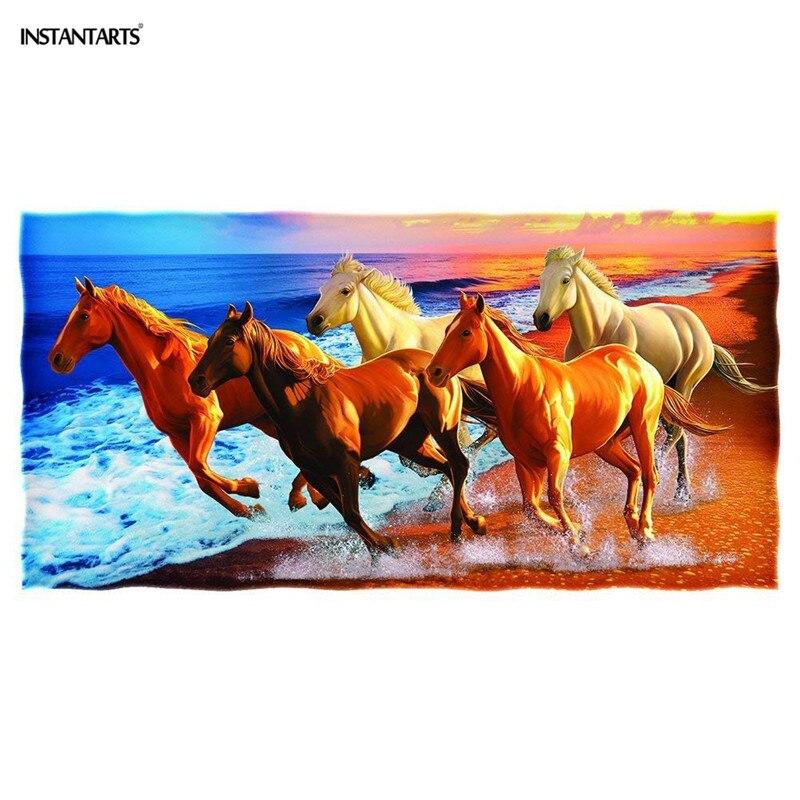 INSTANTARTS compacte natation plage bain serviette douce 3D cheval imprimé voyage Portable Fitness salle de sport absorbant grande serviette pour adultes
