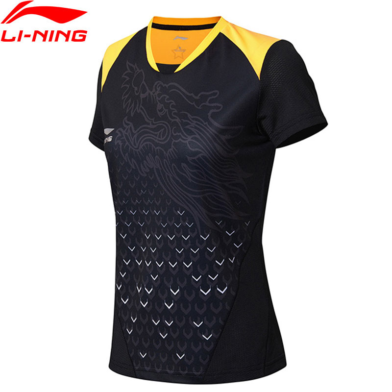 Lining T-Shirts Table-Tennis Women for National-Team Breathable Sports Tees Tops Aayn052/camj18