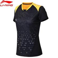 Li-Ning женские настольные теннисные футболки для сборной дышащая подкладка тренировочные спортивные футболки топы AAYN052 CAMJ18