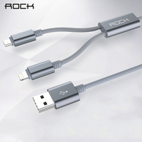 For IPhone Micro Type C 2 In 1 Cable Rock Nylon Braided USB Cable Charging Cable