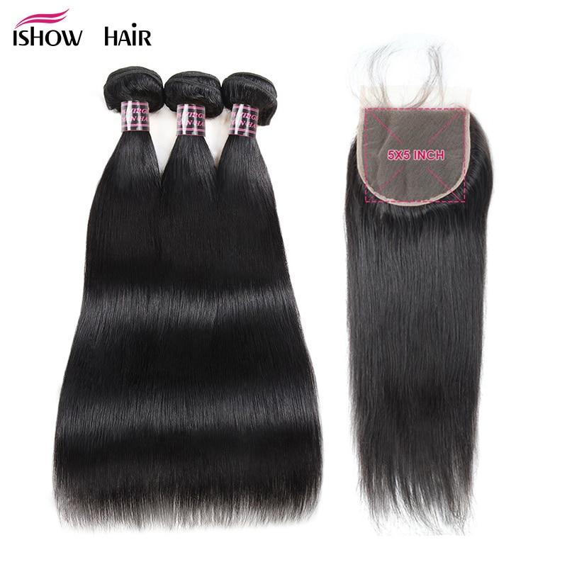 Ishow Brazilian Straight Hair Bundles With Closure 5X5 Closure With 3 Bundles Hair 100 Human Hair