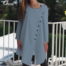 2019 Autumn Celmia Women Blouse Shirt Casual Long Sleeve O-Neck Buttons Solid Asymmetrical Long Top Plus Size Split Blusas Mujer split sleeve plus size wrap top