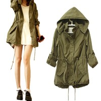 Women Winter Warm Army Green Military Parka Trench Hooded Coat Jacket New
