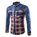 Хлопок проверяет пледы с длинным рукавом груди карманы кнопка turn down воротник манжетой мужские джинсовые регулярные fit французский манжеты рубашки
