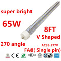30pcs v shaped led tube t8 8ft 2400mm single pin fa8 65w led fluorescent light