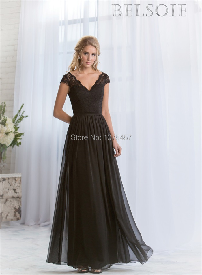 Latest design black modest bridesmaid dress short sleeve for Modest wedding dress designers