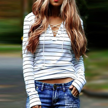2016 Autumn New Casual Fashion Elegant Sexy Slim Lace Up Striped V Neck Long Sleeve Women T Shirt Tee Tops