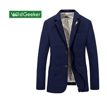 Wildgeeker Для мужчин Блейзер 2017 Демисезонный Однобортный 100% хлопок парка Для мужчин Slim Fit Куртки Королевский синий плюс Размеры S- XXXXL