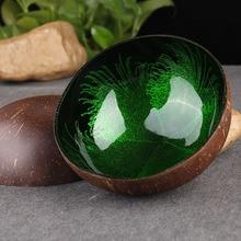 Натуральная миска из скорлупы кокоса для еды салат лапша, рис кокосовые фрукты Деревянная миска ремесленное украшение креативные кокосовые миски S