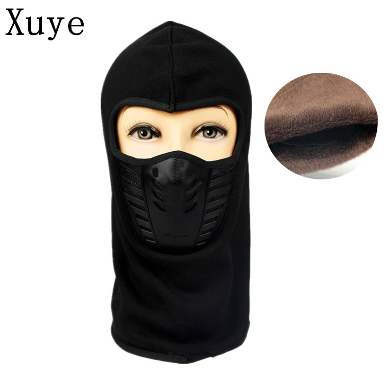 XUYE winter  thicken fleece warm face mask hats girl windporrf hat riding  ski cap beanies Balaclava breathable bike caps fashionable button face mask thicken trapper hat for men