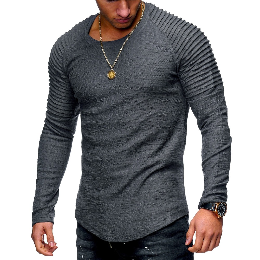 Tshirt Men Bodybuilding Casual Fitness Long Sleeve T Shirt Brand Clothing Solid Pleated On Arms Round Neck Man Brand Tops Tee