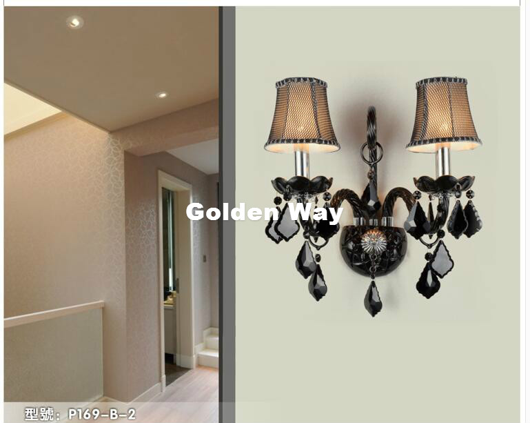 Modern Black Color Crystal Design Wall Lamp K9 Crystal Wall Lamps Bedroom Headboard Bedside Lamp Wall Sconce Light Fixture mirror high quality k9 crystal led wall lamp sconce post modern coffee shop decatarion lighting fixture indoor wall lamps abajur