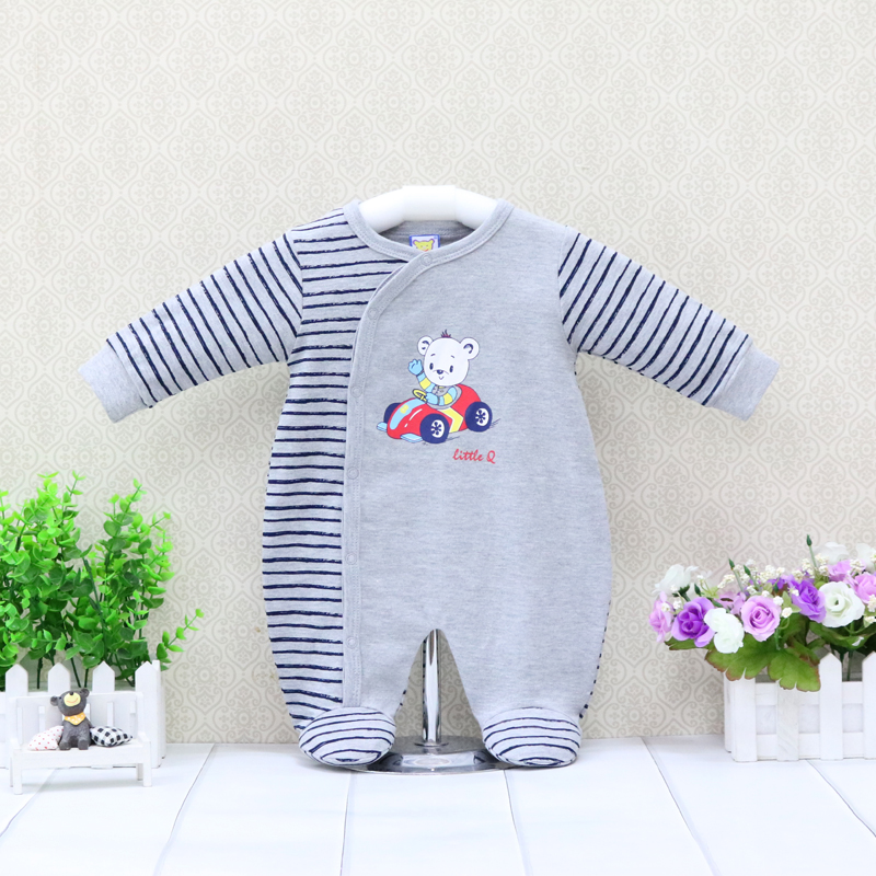 Boys Pure Cotton   Rompers   O neck Long Sleeve One Piece Clothes Toddler Suits Children Overalls for 0-12 months Baby christmas