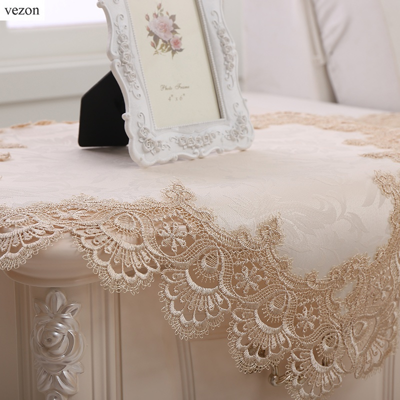 Vezon New Arrival Luxury Lace Tablecloth Elegant Polyester
