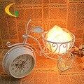 Perforado el reloj de Hierro lámpara de mesa lámpara de sal de calidad de voz 110 V-220 V E14 dormitorio lámpara de la mesita de noche luz Continen