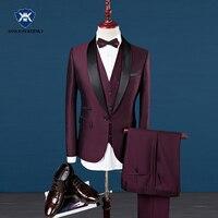 Slim Fit Для мужчин Костюмы королевский синий блейзер последние конструкции пальто брюки 2018 жениха свадебное платье смокинг цвет красного вин