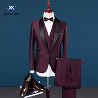 Slim Fit Men Suits Royal Blue Blazer Latest Coat Pant Designs 2018 Groom Wedding Dress Tuxedo Wine Red Suit Male 3 Pieces Suit