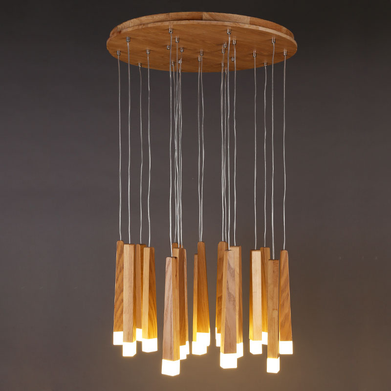 DX wooden modern pendant light Chinese Nordic creative minimalist living room dining wood ball wooden pendant lamp creative european country wood chandeliers artistic for living room decoration modern minimalist style wooden e27 pendant lamp
