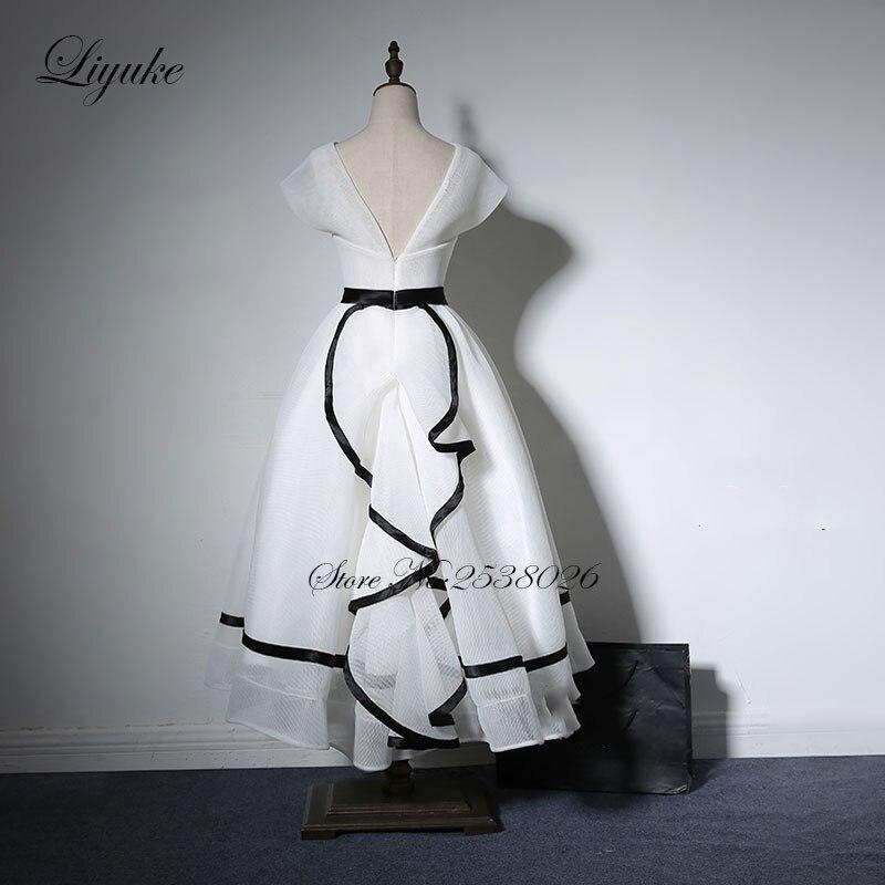 Liyuke White Color Prom Dress With V Neckline A Line Cap Sleeve Tea ...