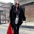 Mullido faux fur coat mujeres 2016 caliente elegante femenina prendas de vestir exteriores Negro elegante otoño invierno capa de la chaqueta de abrigo tallas grandes