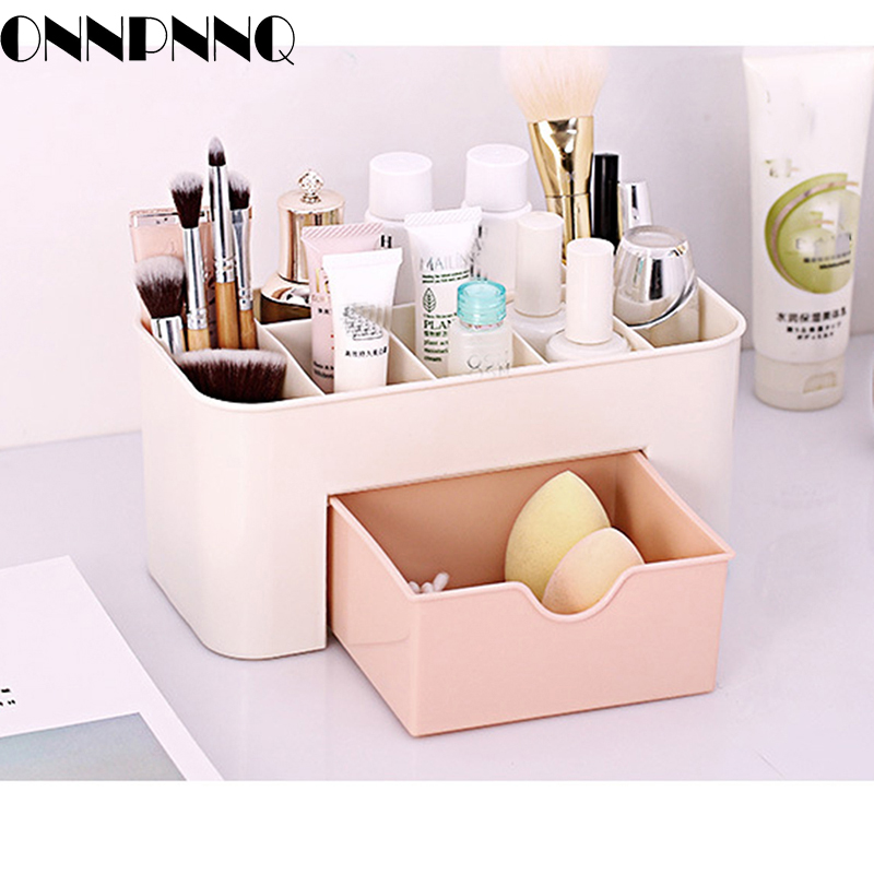 OnnPnnQ Plastic Cosmetic Storage Box Multifunction Desktop Drawer Makeup Organizers Basket Safe Small Home Storage Containers
