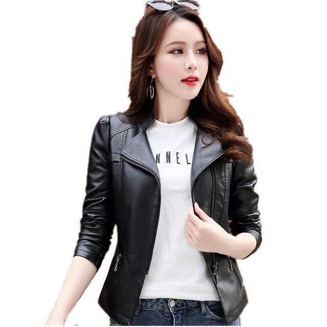 PU Leather Jacket Women Motorcycle Short Slim Spring Autumn Jackets Black Pink Faux Leather Coat Female Plus Size 5xl 6xl YQ330