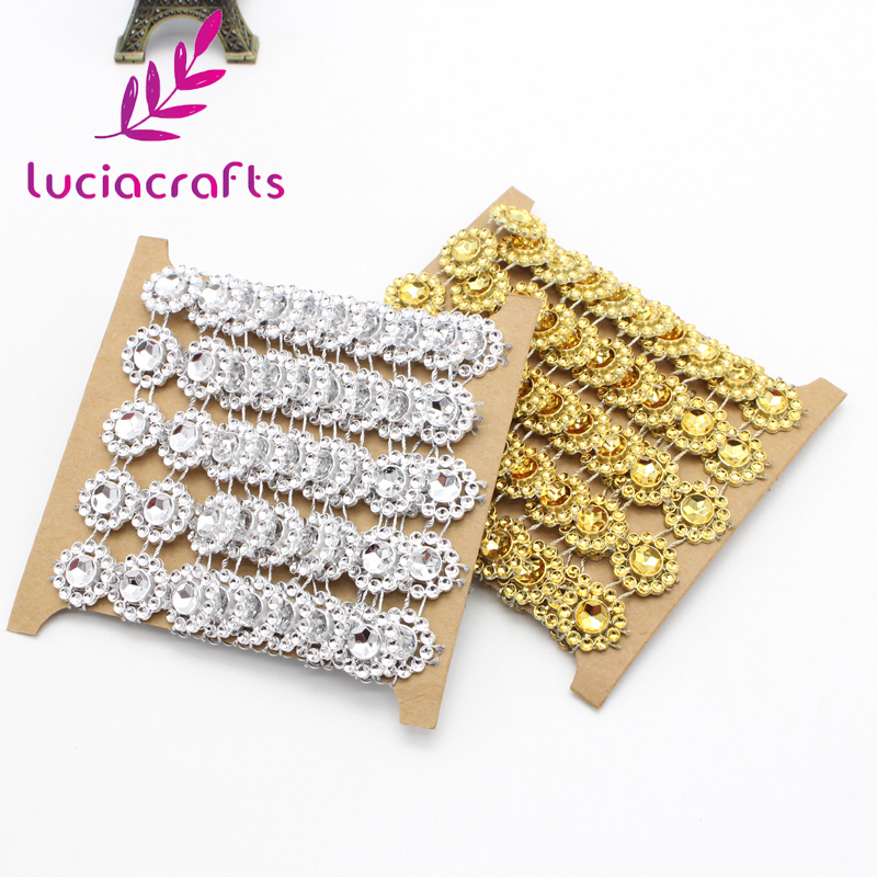 Image 4 - 2yards/lot 15mm Flower Diamond Bling Crystal Ribbon Wrap Trim DIY Home Wedding Cake Party Decorations Gold,Silver V0803-in Lace from Home & Garden