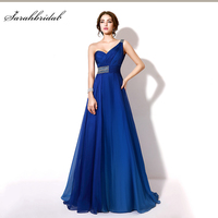 In Stock A Line Crystal Beaded Evening Dresses New Sexy Chiffon One Shoulder Backless Floor Length