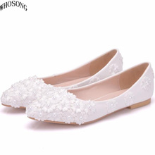 WHOSONG White lace pearl casual womens shoes 2019 women pointed flat Wedding shoe M37