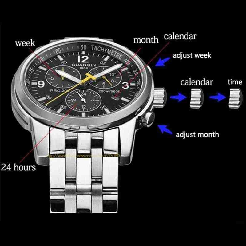 GUANQIN 2018 плавательные часы лучший бренд Роскошные мужские автоматические 200 м водонепроницаемые механические часы мужские Relogio Masculino