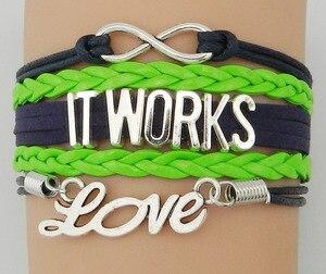 Drop Shipping Infinity/Love It Works Bracelet- Dark Blue with Neon Green Leather Braided Strap Velvet Bracelet Team Gift