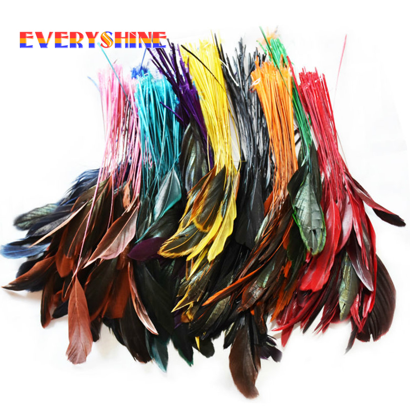 Cheap Colorful 24pcs Dyed Turkey Feather Hair Extensions Party Wedding Bouquet Decorations Feathers For Sale Length 12-20cm IF10