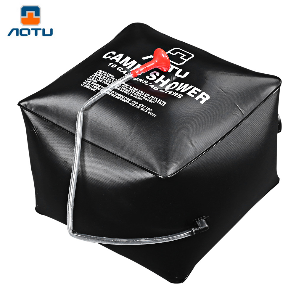 aotu portable solar heated shower camping water bathing bag outdoor hiking folding solar camp shower water