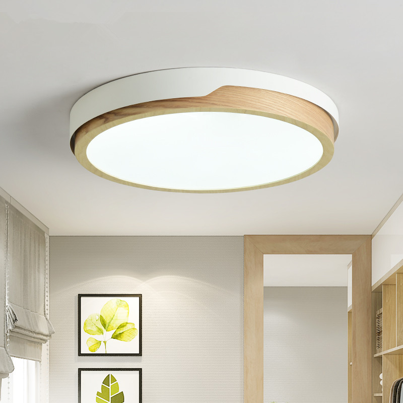 LED Round Ceiling Lights Nordic Style Ceiling Mounted Lamp For Bedroom Dining Living Room Wooden Kitchen Lighting Fixture