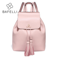 BAFELLI new arrival Genuine Leather drawstring backpack tassel mochilas mujer travel bag teenagers girls school backpack women