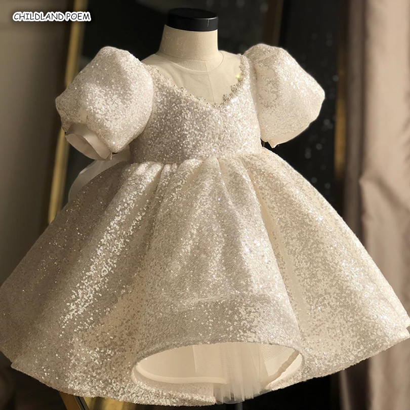 Baby Dress Wedding Christening Gowns First 1st Birthday Party Baptism Princess Dress Sequin Handmade Kids Dresses