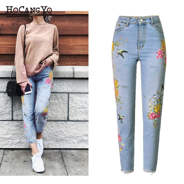 HCYO Womens High Waist Jeans with Embroidery Denim Pants Straight Ripped Washed Jeans Women Light Blue Casual Cotton Jeans Pants