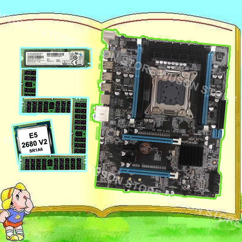 Runing X79 motherboard with M.2 256G NVMe SSD discount motherboard with CPU <font><b>Intel</b></font> Xeon <font><b>E5</b></font> <font><b>2680</b></font> <font><b>V2</b></font> <font><b>SR1A6</b></font> RAM 32G 1600 REG ECC image