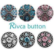 Rivca Snaps Jewelry Newest Rhinestone Metal Snaps Bracelets For Women Bangle Europe Beads Valentine's Gifts D03237 Fashion Snaps(China)