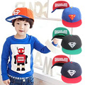 New Cartoon Baseball Caps Superman Hats for Children Color Patch Hip Hop Snap Back Gorras