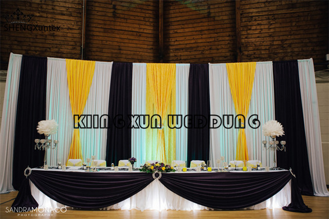 White wedding backdrop curtain with black and yellow swag drape for white wedding backdrop curtain with black and yellow swag drape for wedding decoration junglespirit Image collections