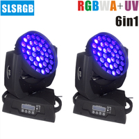 2pcs/lot RGBWA+UV 6in1 36x18w Beam Zoom Led Moving Head Wash For disco, stage show, party Bright LED 36PCS*18W 6in1 RGBWA UV